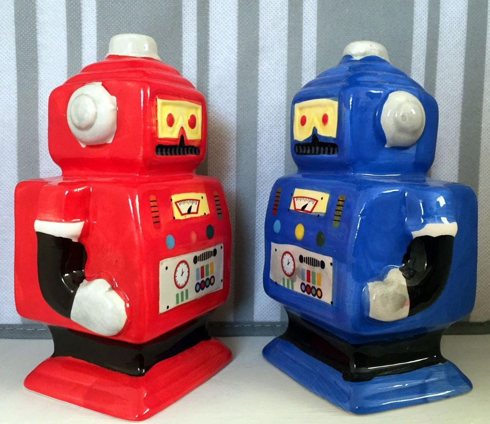 Robot Man Hand Painted Money Bank